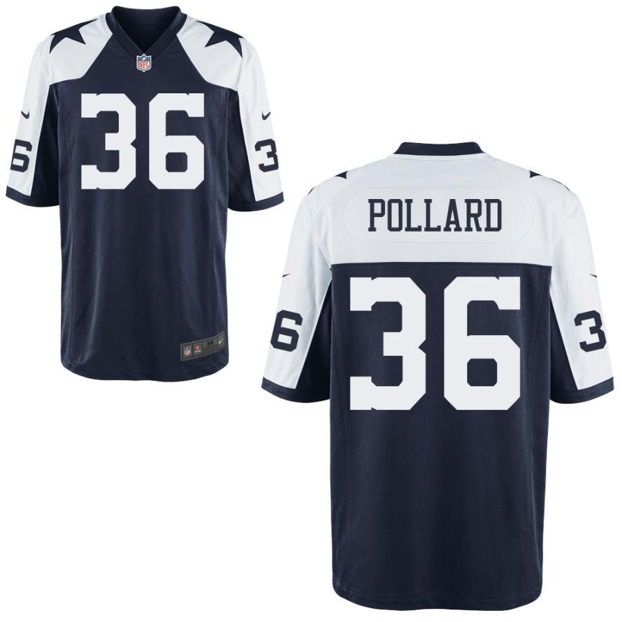 Men's Dallas Cowboys #36 Tony Pollard Blue Thanksgiving Alternate Stitched NFL Nike Game Jersey