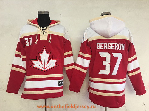 Men's Team Canada #37 Patrice Bergeron 2016 World Cup of Hockey Red Stitched Old Time Hockey Hoodie