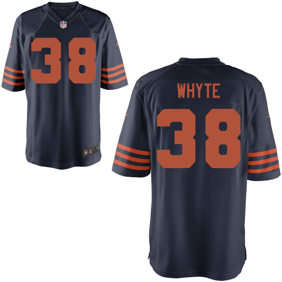 Men's Chicago Bears 38 Kerrith Whyte Jr. Navy Blue with Orange Game Jersey