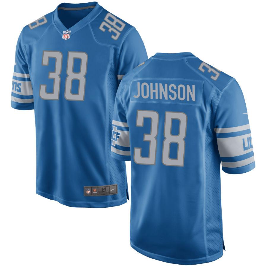 Men's Detroit Lions #38 Ty Johnson Light Blue NFL Nike Limited Jersey