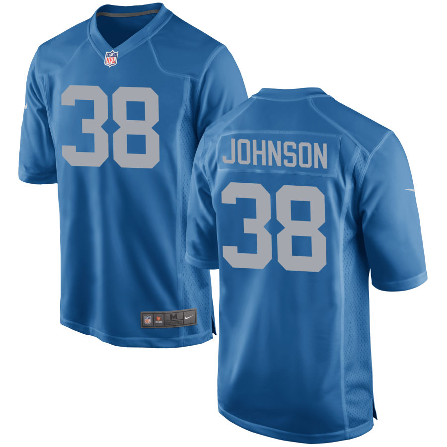 Men's Detroit Lions #38 Ty Johnson Blue Throwback NFL Nike Limited Jersey