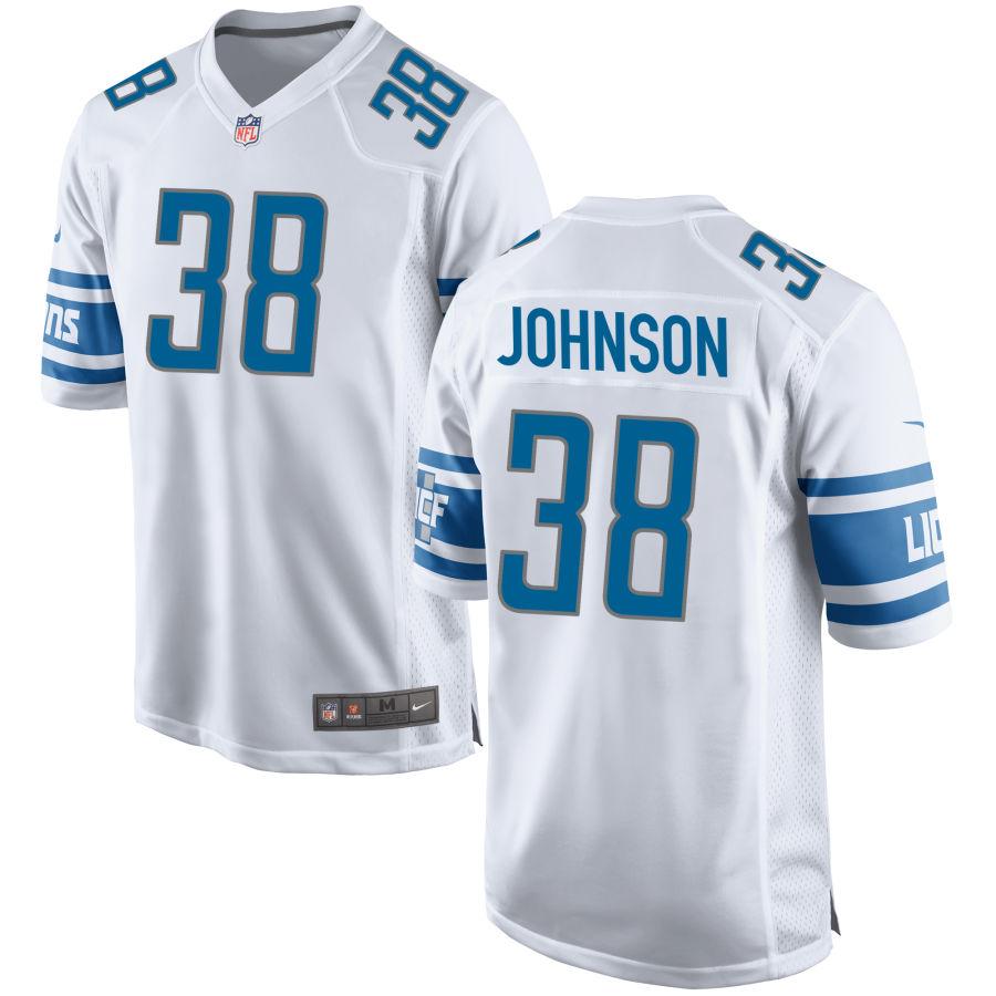 Men's Detroit Lions #38 Ty Johnson White NFL Nike Limited Jersey