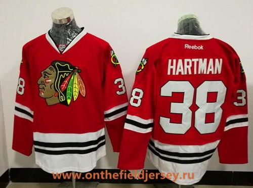 Men's Chicago Blackhawks #38 Ryan Hartman Red Stitched NHL Reebok Hockey Jersey