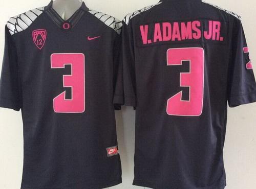 Men's Oregon Ducks #3 Vernon Adams Jr Black With Purple College Football Nike Limited Jersey