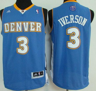 Men's Denver Nuggets #3 Allen Iverson Light Blue Soul Swingman Jersey