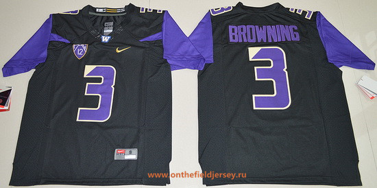 Men's Washington Huskies #3 Jake Browning Black Limited Stitched College Football 2016 Nike NCAA Jersey