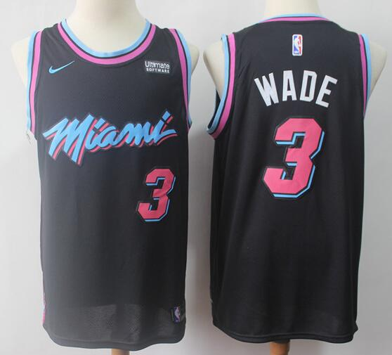 Men's Miami Heat #3 Dwyane Wade Black with Pink City Edition Nike Swingman Stitched NBA Jersey