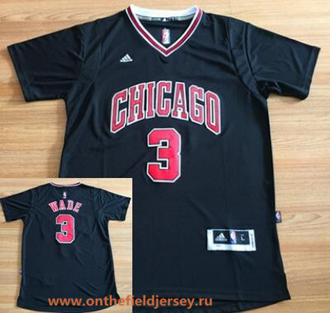 Men's Chicago Bulls #3 Dwyane Wade New Black Short-Sleeved Stitched NBA Adidas Swingman Jersey
