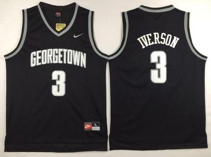 Men's Georgetown Hoyas #3 Allen Iverson Black College Basketball Nike Swingman Jersey
