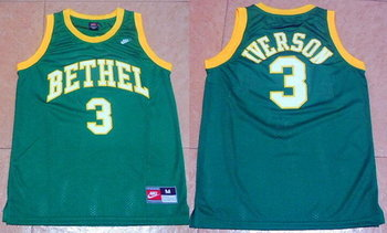 Men's Bethel High School #3 Allen Iverson Green Basketball Nike Swingman Jersey