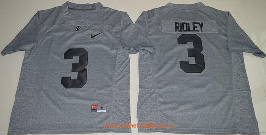 Men's Alabama Crimson Tide #3 Calvin Ridley Gridiron Gray Stitched College Football Nike NCAA Jersey