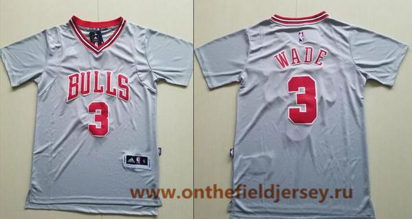 Men's Chicago Bulls #3 Dwyane Wade Gray Short-Sleeved Stitched NBA Adidas Revolution 30 Swingman Jersey