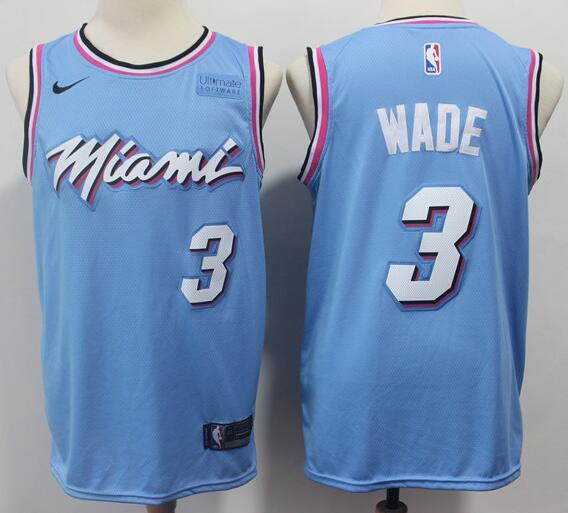 Men's Miami Heat #3 Dwyane Wade Light Blue with Pink City Edition Nike Swingman Stitched NBA Jersey