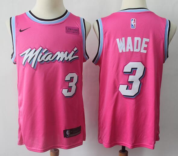 Men's Miami Heat #3 Dwyane Wade Pink City Edition Nike Swingman Stitched NBA Jersey