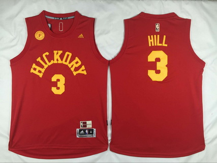 Men's Indiana Pacers #3 George Hill Revolution 30 Swingman 2015-16 Retro Red Jersey