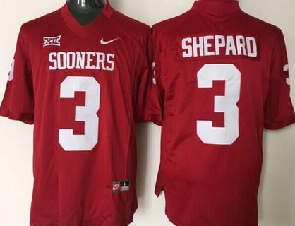 Men's Oklahoma Sooners #3 Sterling Shepard Red College Football Nike Jersey