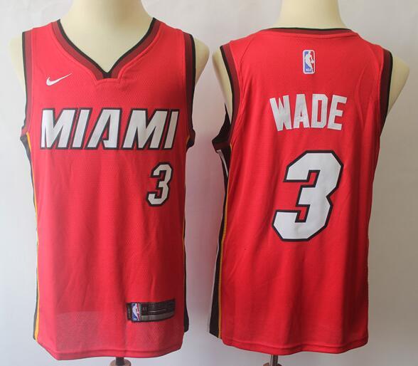 Men's Miami Heat #3 Dwyane Wade Red Nike Swingman Stitched NBA Jersey
