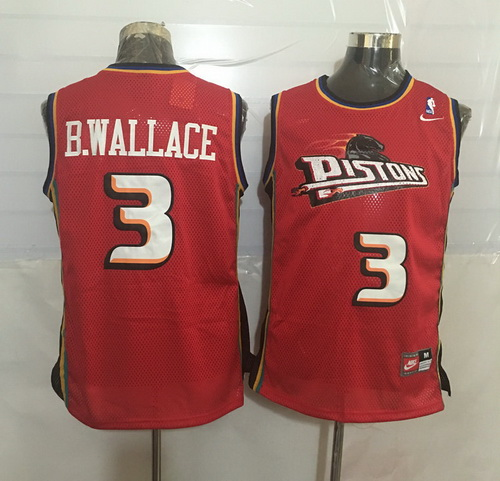 Men's Detroit Pistons #3 Ben Wallace Red Hardwood Classics Soul Swingman Throwback Jersey