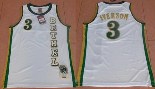 Men's Bethel High School #3 Allen Iverson White Soul Swingman Basketball Jersey