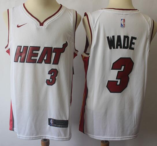Men's Miami Heat #3 Dwyane Wade White Nike Swingman Stitched NBA Jersey