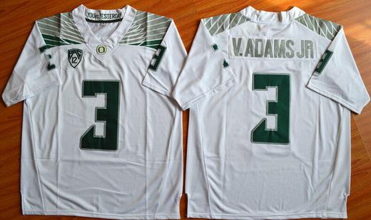 Men's Oregon Ducks #3 Vernon Adams Jr White College Football Nike Limited Jersey
