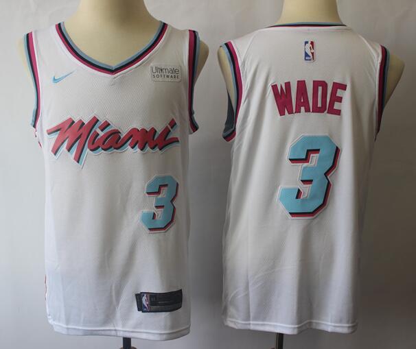 Men's Miami Heat #3 Dwyane Wade White with Pink City Edition Nike Swingman Stitched NBA Jersey