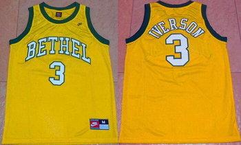 Men's Bethel High School #3 Allen Iverson Yellow Basketball Nike Swingman Jersey