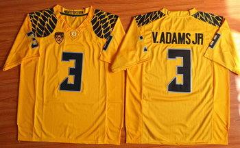 Men's Oregon Ducks #3 Vernon Adams Jr Yellow College Football Nike Limited Jersey
