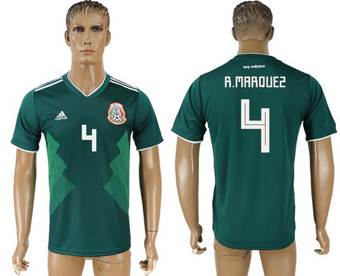2018 World Cup Mexico National Team Home Green #4 R. Marquez Men's Soccer AAA+ Shirt