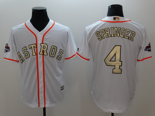 Men's Houston Astros #4 George Springer White World Series Champions 2017 Gold Stitched MLB Majestic Flex Base Jersey