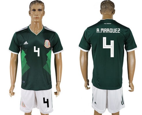 2018 World Cup Mexico National Team Home Green #4 R. Marquez Men's Soccer Shirt Kit
