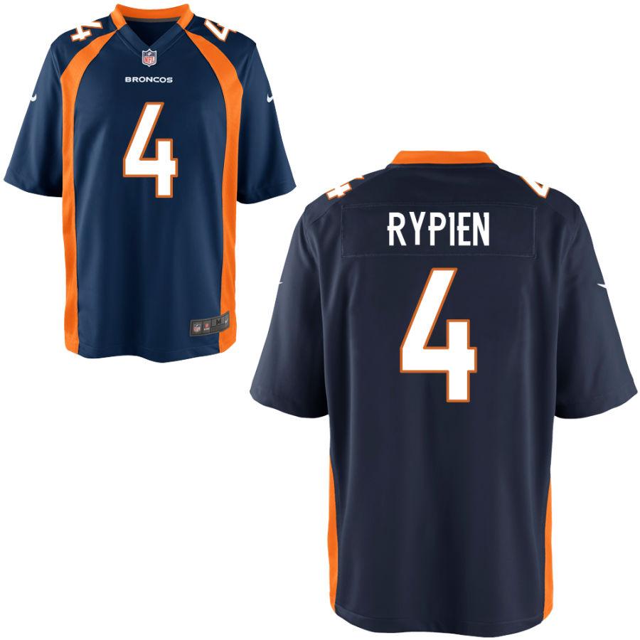 Men's Denver Broncos #4 Brett Rypien Navy Blue Stitched NFL Nike Game Jersey
