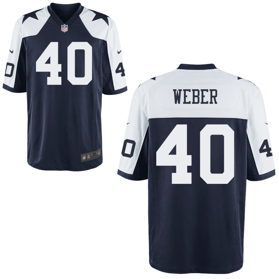 Men's Dallas Cowboys #40 Mike Weber Blue Thanksgiving Alternate Stitched NFL Nike Game Jersey