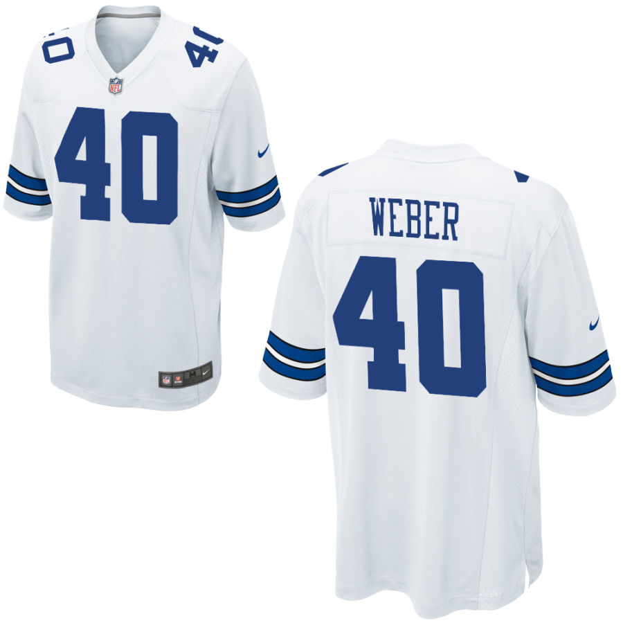 Men's Dallas Cowboys #40 Mike Weber White Road Stitched NFL Nike Game Jersey