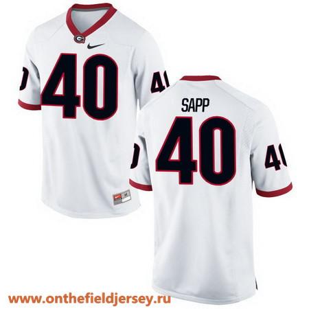 Men's Georgia Bulldogs #40 Theron Sapp White Stitched College Football 2016 Nike NCAA Jersey