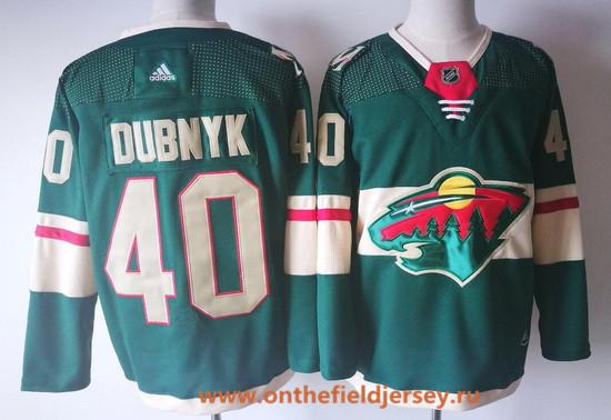 Men's Minnesota Wild #40 Devan Dubnyk Green Home 2017-2018 Adidas Hockey Stitched NHL Jersey