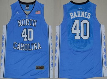 Men's North Carolina Tar Heels #40 Harrison Barnes 2016 Light Blue Swingman College Basketball Jersey