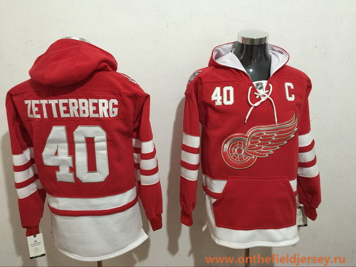 Men's Detroit Red Wings #40 Henrik Zetterberg NEW Red Pocket Stitched NHL Old Time Hockey Hoodie