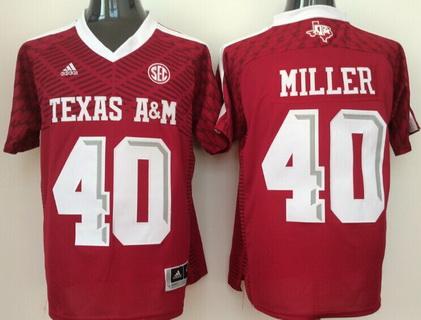 Men's Texas A&M Aggies #40 Von Miller Red 2016 College Football adidas Jersey