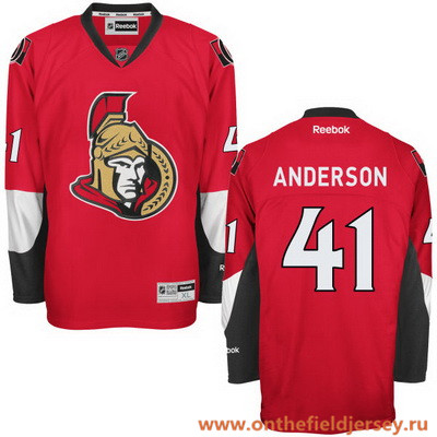 Men's Ottawa Senators #41 Craig Anderson Red Home Stitched NHL Reebok Hockey Jersey