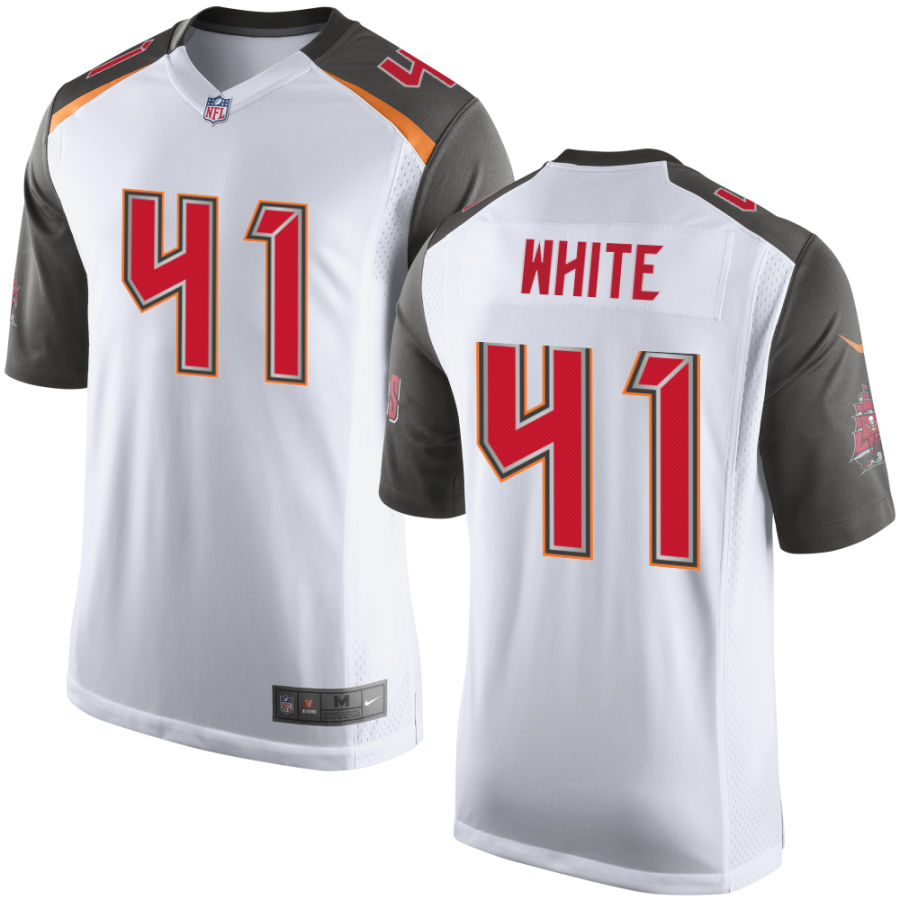 Men's Tampa Bay Buccaneers #41 Devin White White Road Stitched NFL Nike Game Jersey