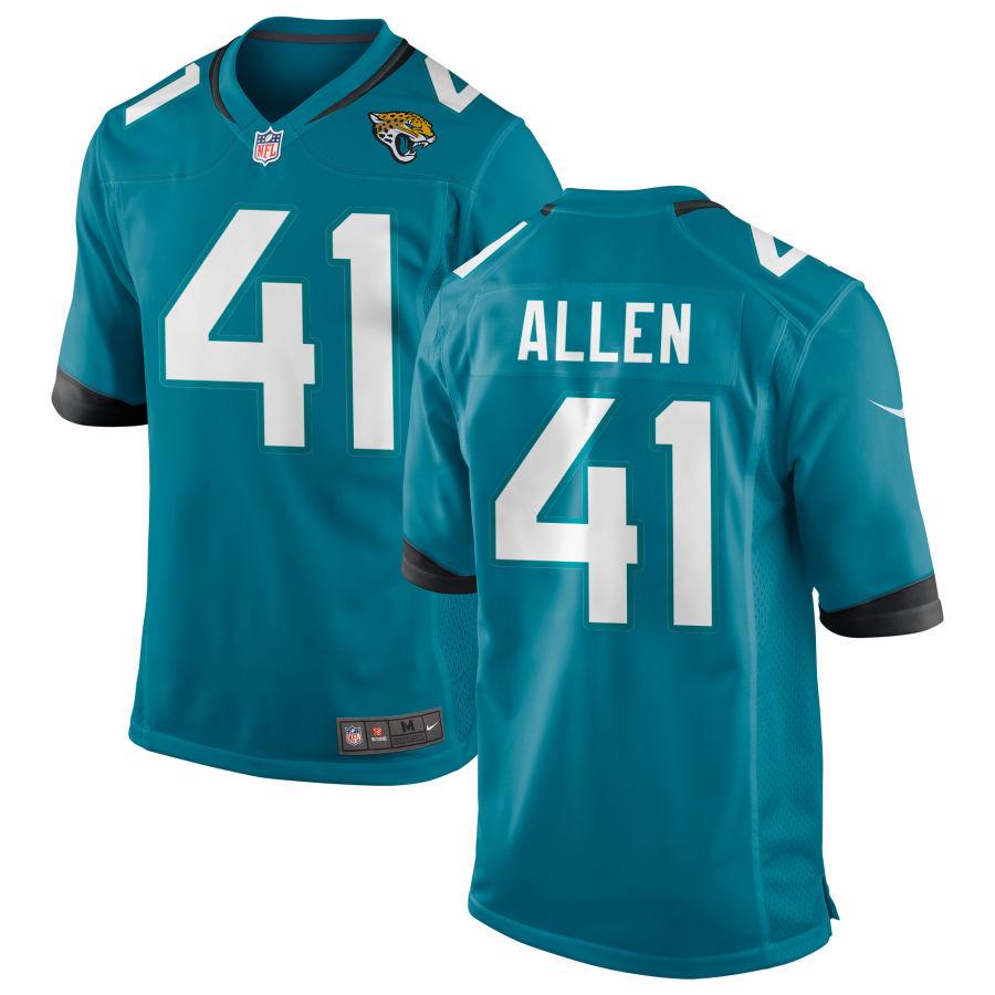 Men's Jacksonville Jaguars #41 Josh Allen Teal Blue Stitched NFL Nike Game Jersey