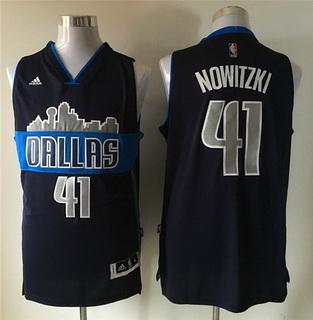 Men's Dallas Mavericks #41 Dirk Nowitzki Revolution 30 Swingman The City Navy Blue Jersey