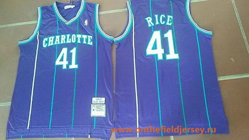 Men's Charlotte Hornets #41 Glen Rice 1992-93 Purple Hardwood Classics Soul Swingman Throwback Jersey
