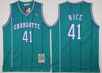 Men's Charlotte Hornets #41 Glen Rice Green Hardwood Classics Soul Swingman Throwback Jersey