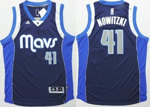 Dallas Mavericks #41 Dirk Nowitzki Revolution 30 Swingman 2014 New Navy Blue Jersey