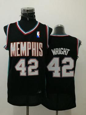 Men's Memphis Grizzlies #42 Lorenzen Wright Black Hardwood Classics Soul Swingman Throwback Jersey