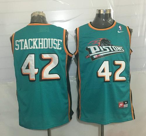 Men's Detroit Pistons #42 Jerry Stackhouse Teal Green Hardwood Classics Soul Swingman Throwback Jersey