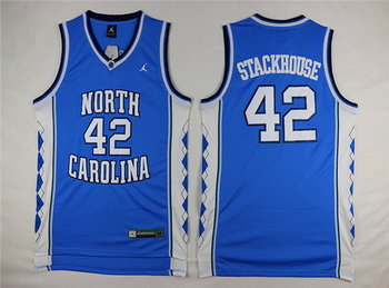 Men's North Carolina Tar Heels #42 Jerry Stackhouse 2016 Light Blue Swingman College Basketball Jersey