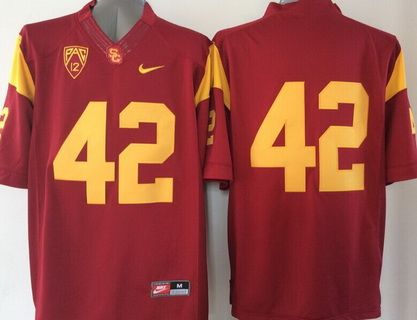 Men's USC Trojans #42 Red 2015 College Football Nike Limited Jersey